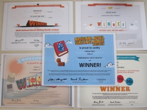 My Winner's Certificates: NaNoWriMo 2009, 2010, 2011, 2012, and now 2013